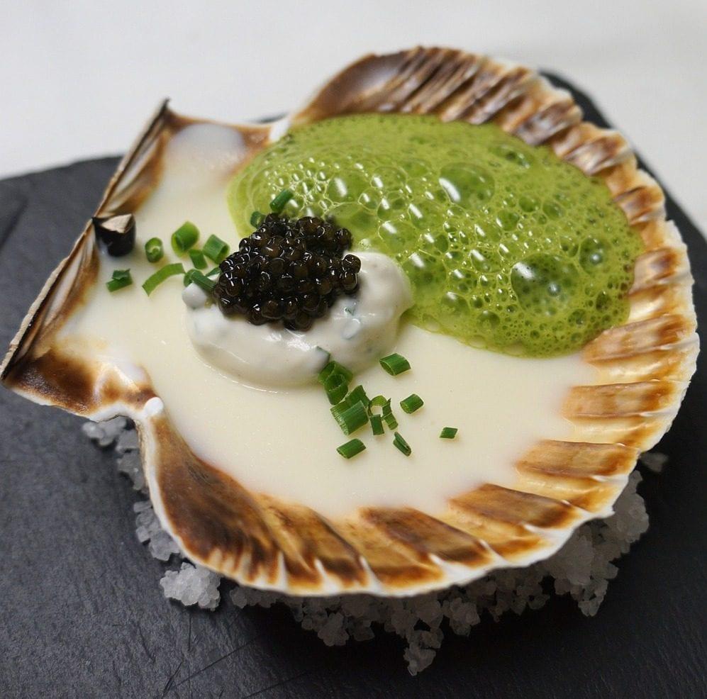 Vieira con caviar de esturión de acuicultura